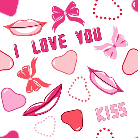 kiss lips: seamless pattern with hearts and lips