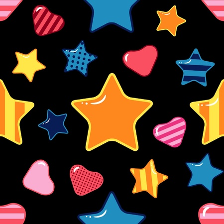 yellow heart: seamless texture with stars and hearts on black