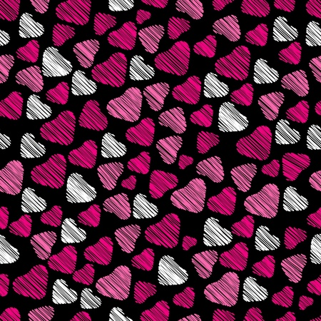seamless pattern with pink and white hearts Vector