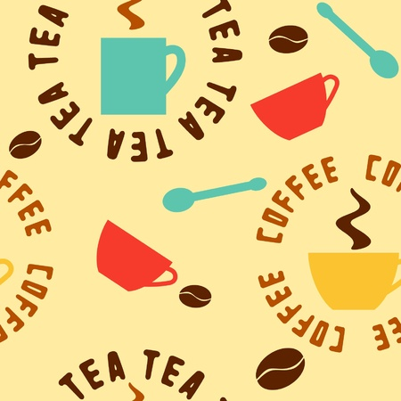 seamless pattern with tea and coffee