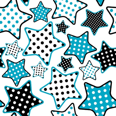 cartoon stars: seamless pattern with blue and black stars Illustration