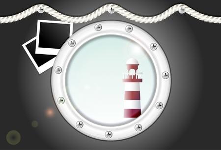 porthole with lighthouse