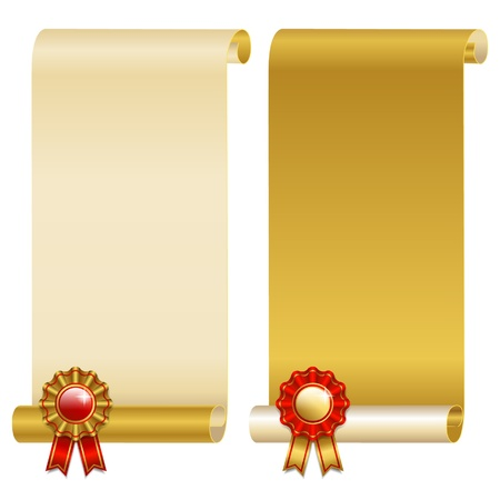 award ribbon rosette: golden scrolls with red badge