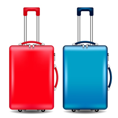 travel luggage: red and blue suitcases