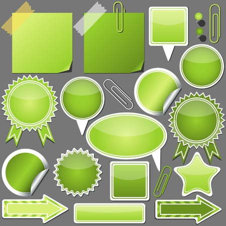 Set of green elements Vector