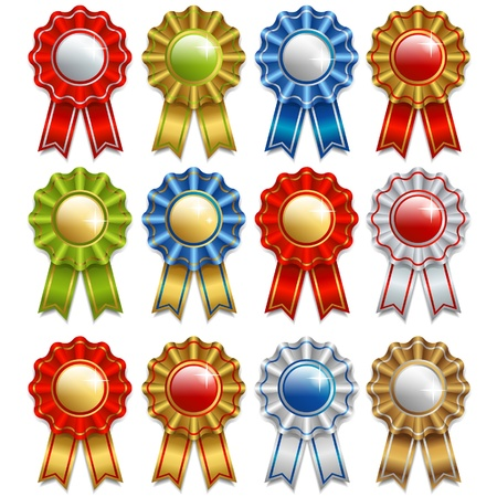 award ribbon rosette: set of awards Illustration