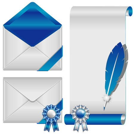 envelop: blue envelop and scroll