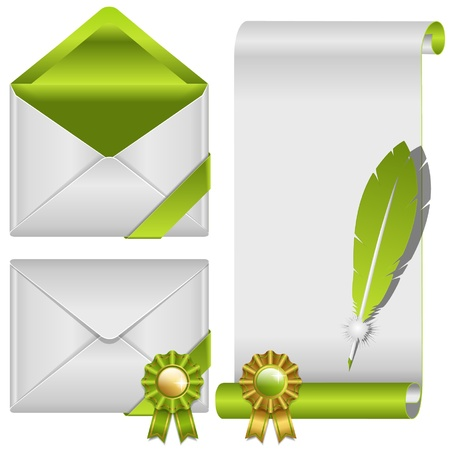envelop: green envelop and scroll
