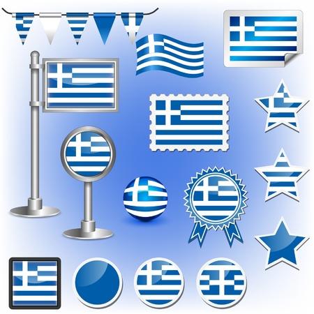 greece stamp: flag of greece