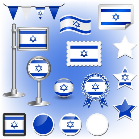 jewish star: flag of israel Illustration