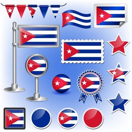 bandera cuba: bandera de Cuba Vectores
