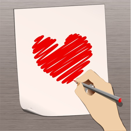 scribble: pencil with heart vector Illustration