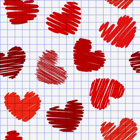 pencil drawn: seamless pattern with hearts vector