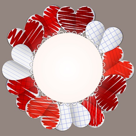 paper hearts and round sheet of paper vector Vector