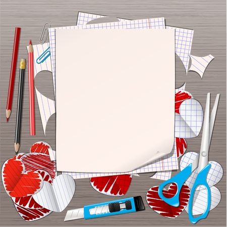 office romance: paper hearts and empty page vector Illustration