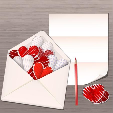 sobres de carta: sobre abierto con el papel de los corazones de vectores