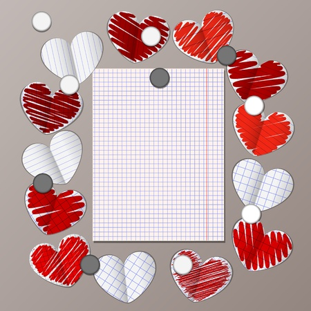magnet board with paper hearts and message note vector Vector