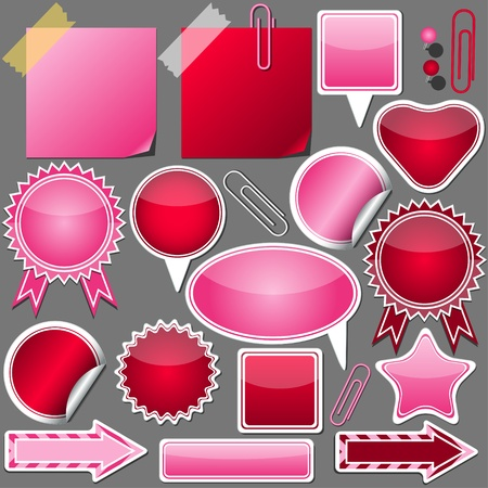 set of pink and red elements
