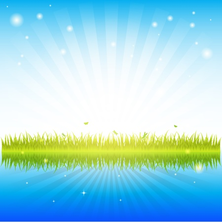 green grass and clean water