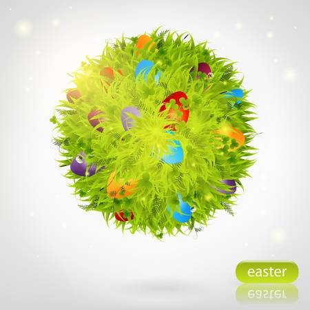 easter eggs in grass sphere  Vector