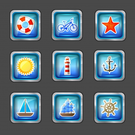 beach buoy: icons with marine elements