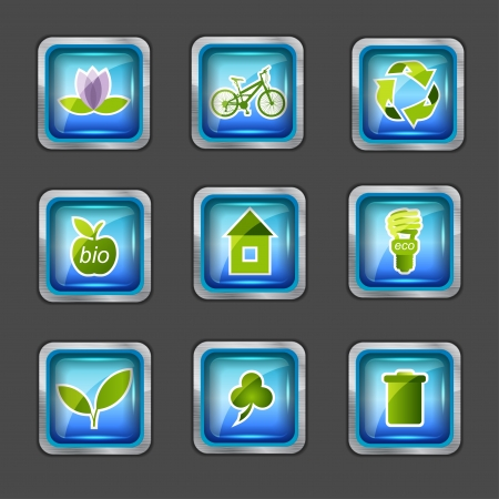 green light bulb: icons with ecology elements