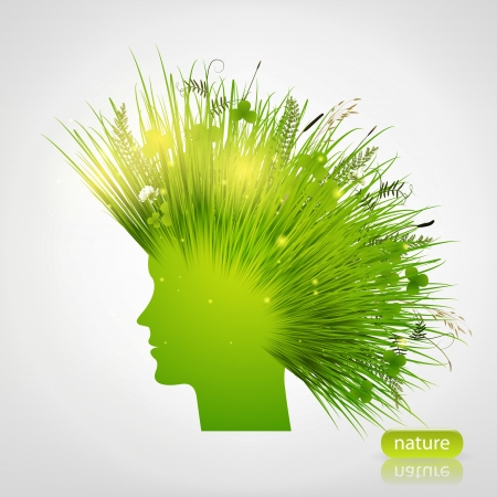 green woman silhouette with grass hair  Illustration
