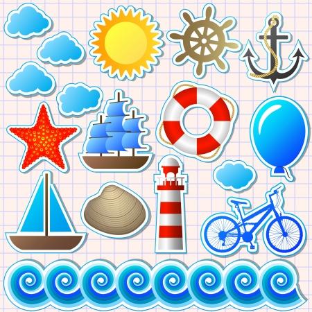 roer: set van elementen uit de zee Stock Illustratie