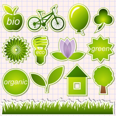 eco house: green eco elements  Illustration
