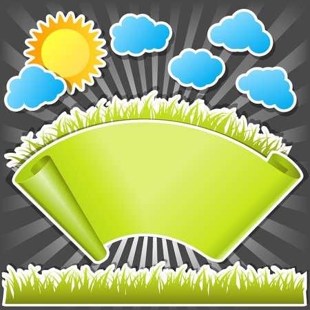 paper scroll with green grass Vector