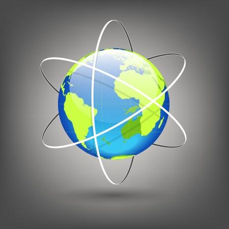 orbits: globe with orbits