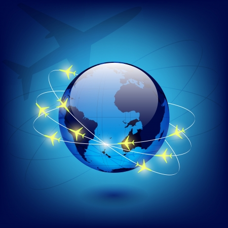 globe with airplanes Vector