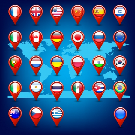 world map and pins with flags Vector
