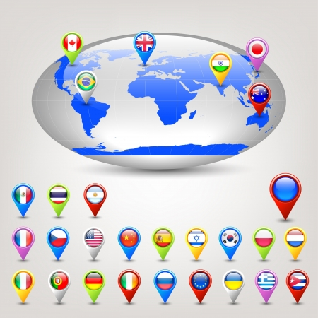 map pointer: globe and pins with flags