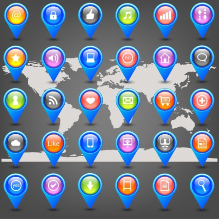 internet pins on map Vector