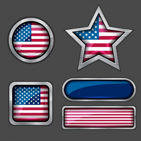 collection of USA flag icons Vector