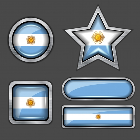 collection of argentina flag icons Vector