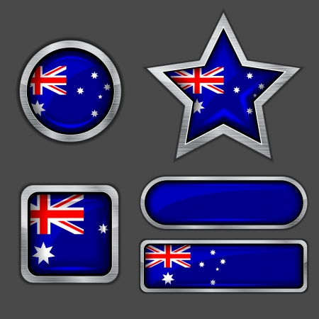 collection of australia flag icons Vector