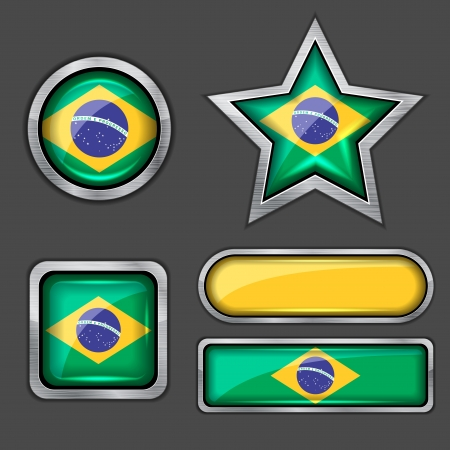 collection of brazil flag icons Vector