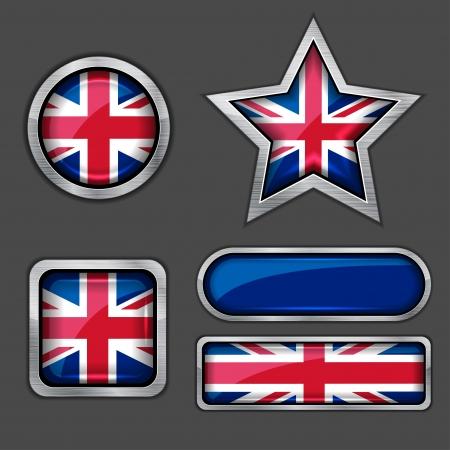 british culture: colecci�n de iconos de banderas brit�nicas Vectores