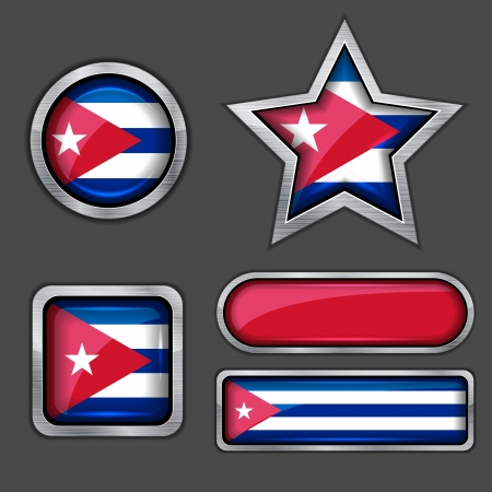 collection of cuba flag icons Vector