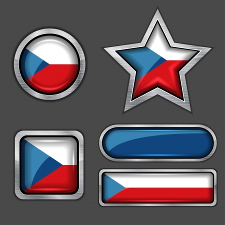 collection of czech flag icons Vector
