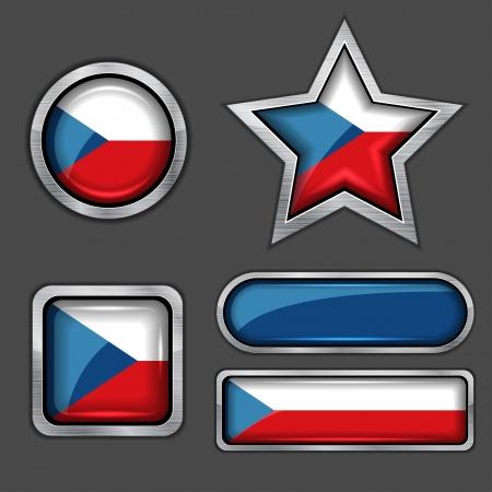 czech flag: collezione di icone di bandiera ceca