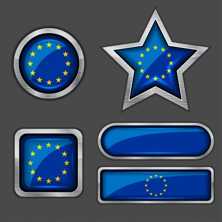collection of european union flag icons Vector