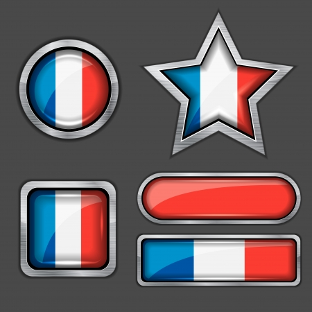 collection of france flag icons Vector