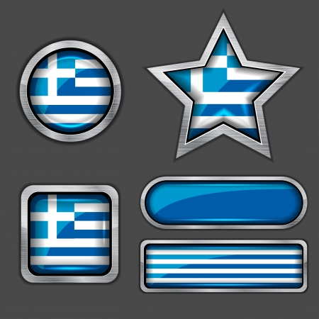 greece flag: collection of greece flag icons Illustration