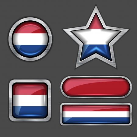 the netherlands: collectie van holland vlag iconen Stock Illustratie