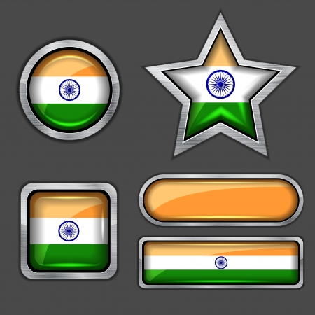 collection of india flag icons Vector