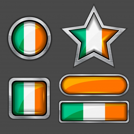collection of ireland flag icons Vector