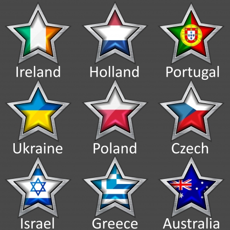 czech flag: stars with flags icon